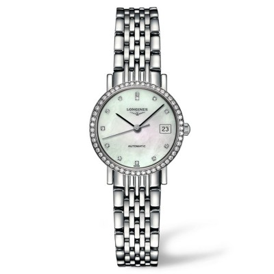 Montre Longines Femme Elegant 25 mm serti diamants - L4.309.0.87.6