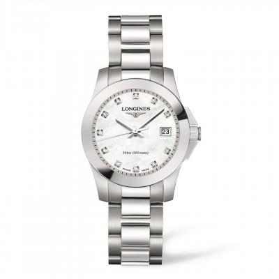 Montre Longines Femme Conquest 29,5 mm serti diamants - L3.277.4.87.6