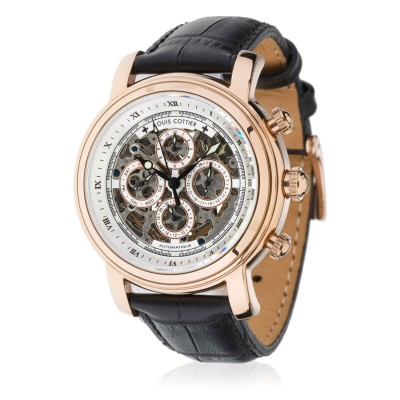 Montre Louis Cottier Skeleton Blanc Bracelet Cuir - HB3353C3BC1