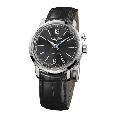 Montre Vulcain 50s Presidents' Watch 39mm Steel Bracelet Alligator Noir - 100153.296L