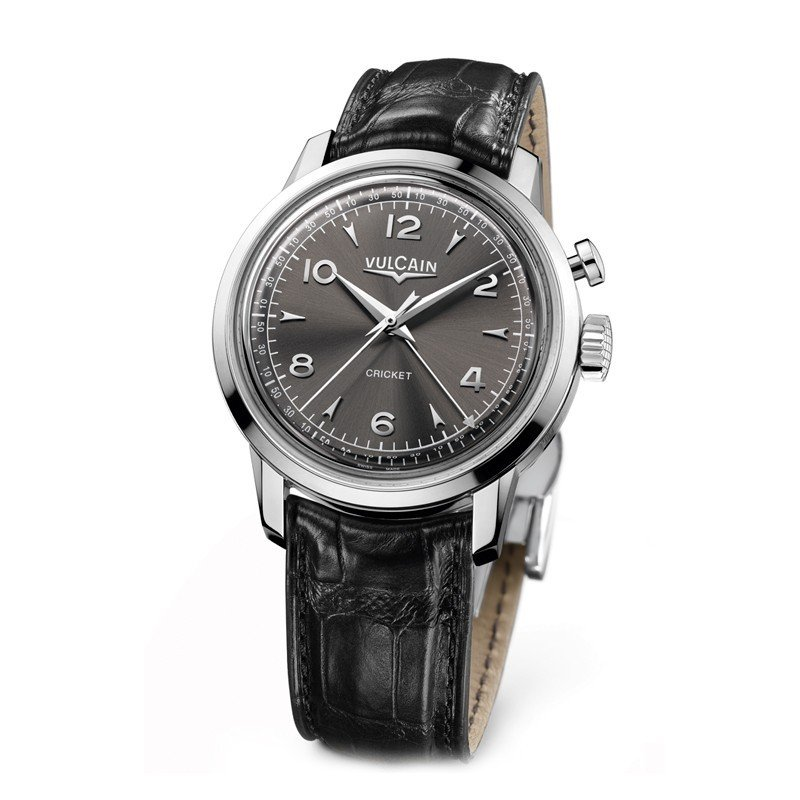 Montre Vulcain 50s Presidents' Watch 39mm Steel Bracelet Alligator Noir - 100153.289LF