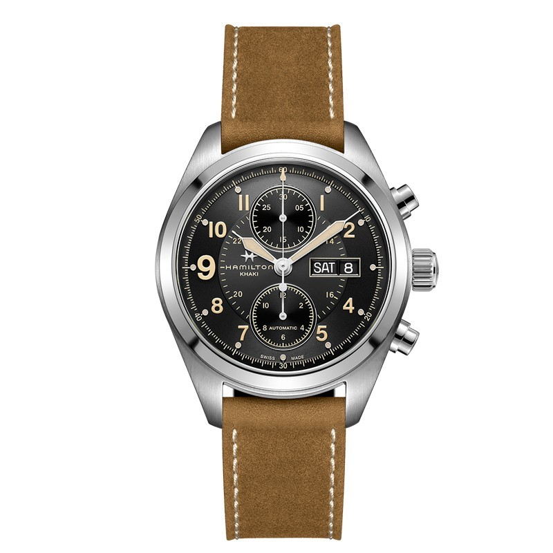 montre homme hamilton khaki field auto chrono 42mm vintage bracelet cuir marron h71616535. Black Bedroom Furniture Sets. Home Design Ideas