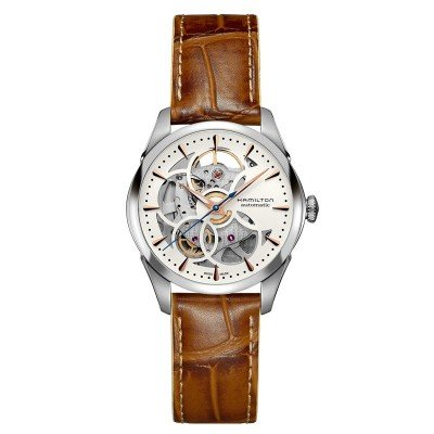 Montre Femme Hamilton Jazzmaster Viewmatic Skeleton Lady Auto Bracelet Cuir Marron - H32405551