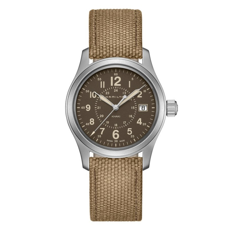 montre homme hamilton khaki field field quartz bracelet tissu vert h68201993. Black Bedroom Furniture Sets. Home Design Ideas