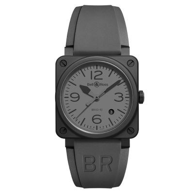 Montre Bell & Ross Aviation BR 03-92 Commando Ceramic Bracelet Caoutchouc Noir - BR0392-COMMANDO-CE