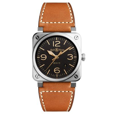 Montre Bell & Ross Aviation BR 03-92 Golden Heritage Bracelet Cuir Marron - BR0392-ST-G-HE/SCA