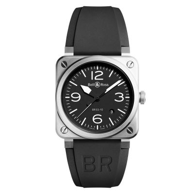 Montre Bell & Ross Aviation BR 03-92 Steel Bracelet Caoutchouc Noir - BR0392-BL-ST