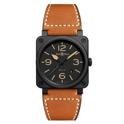 Montre Bell & Ross Aviation BR 03-92 Heritage Ceramic Bracelet Cuir Marron - BR0392-HERITAGE-CE