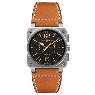 Montre Bell & Ross Aviation BR 03-94 Golden Heritage  Bracelet Cuir Marron - BR0394-ST-G-HE/SCA
