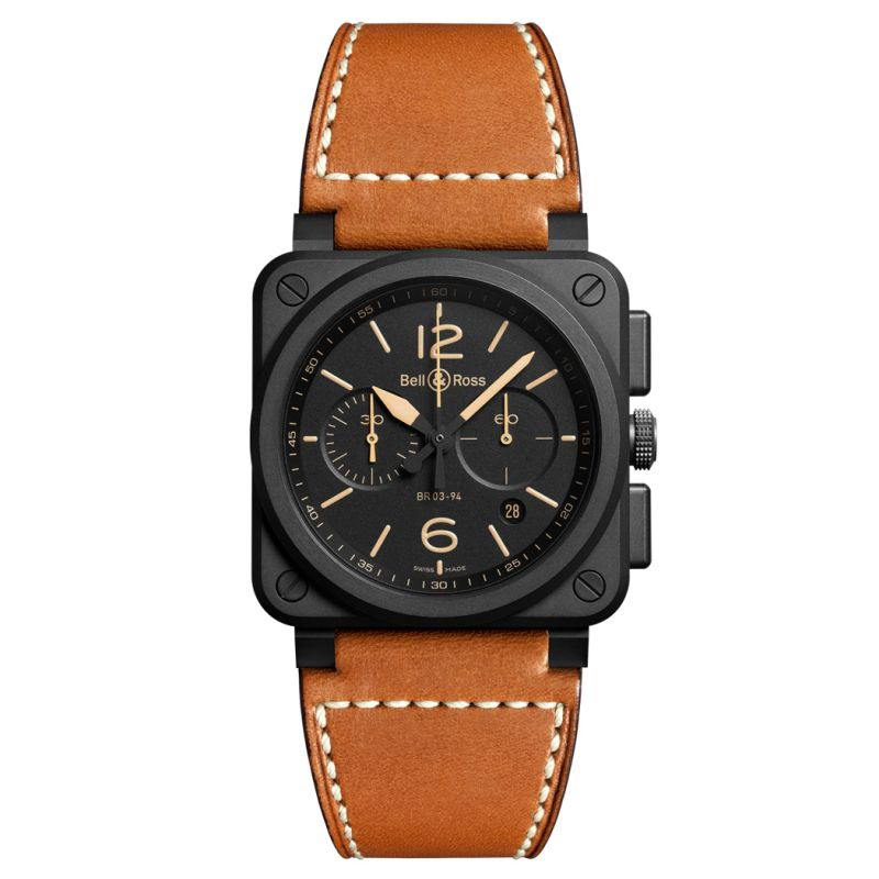 Montre Bell & Ross Aviation BR 03-94 Heritage Ceramic Bracelet Cuir Marron - BR0394-HERI-CE