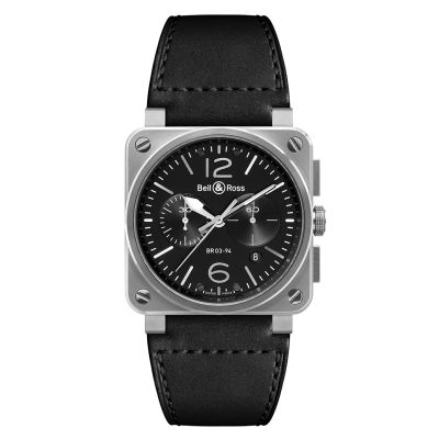 Montre Bell & Ross Aviation BR 03-94 Steel Bracelet Cuir Noir - BR0394-BL-SI/SCA