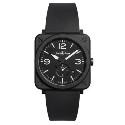 Montre Bell & Ross Aviation BR S Ceramic Matte Bracelet Caoutchouc Noir - BRS-BL-CEM