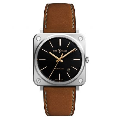 Montre Bell & Ross Aviation BR S Golden Heritage Bracelet Cuir Marron - BRS92-G-HE-ST