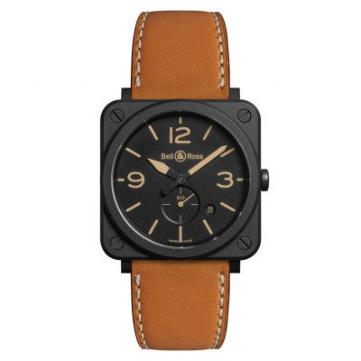 Montre Bell & Ross Aviation BR S Heritage Ceramic Bracelet Cuir Marron - BRS-HERI-CEM