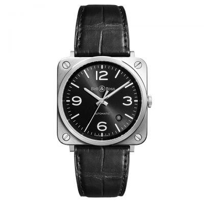 Montre Bell & Ross Aviation BR S Officer Black Bracelet Alligator Noir - BRS92-BL-ST