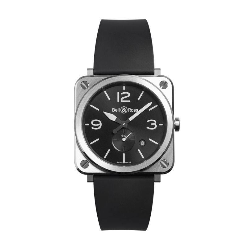 Montre Bell & Ross Aviation BR S Steel Bracelet Caoutchouc Noir