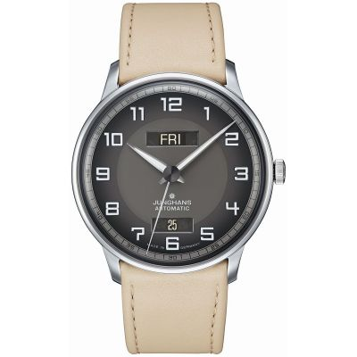 Montre Junghans Meister conducteur automatique jour date tan bracelet - 027/4721.01