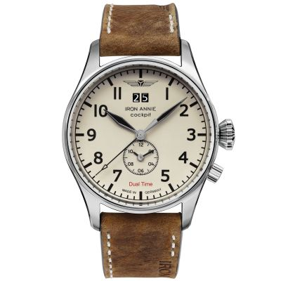 Montre Iron Annie Cockpit Dual Time C/Creme Date 12H B/Cuir Marron Clair