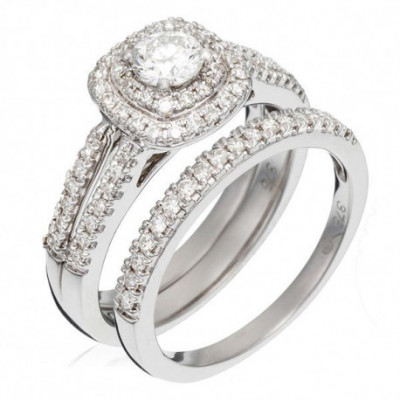 "Bague Or Blanc 375 ""Duo De..."