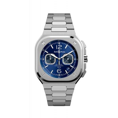 Montre Bell & Ross  chrono bleu steel BR 05