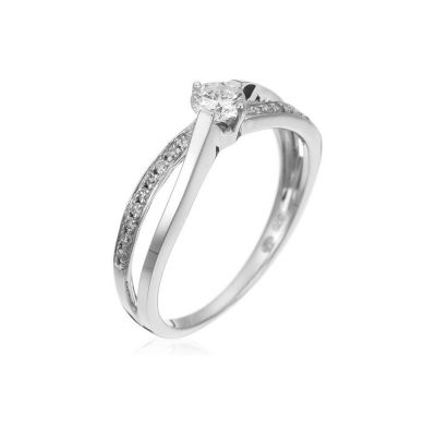 "Bague Or Blanc 375 ""Joli Solitaire "" Diamants 0,07/18 & 0,20/1"