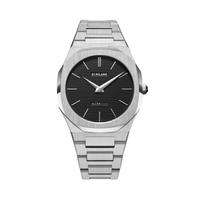 Montre D1 Milano Ultra Thin Restyling Silver Case Black Engraved Stripes