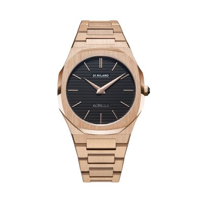 Montre D1 Milano Ultra Thin Restyling Rose Gold Case Black Engraved Stripes