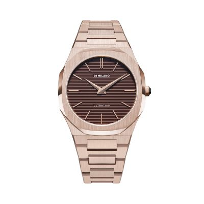 Montre D1 Milano Ultra Thin Champagne Case Brown Engraved Stripes