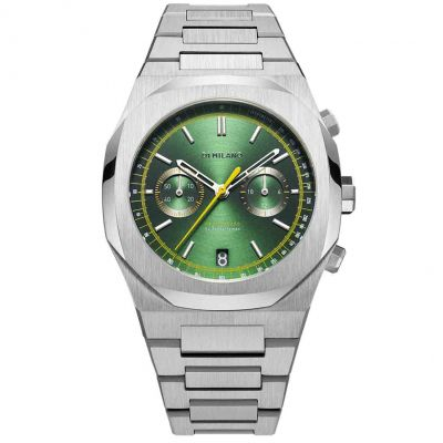Montre D1 Milano Chronograph Silver Case Soleil Green Dial With Yellow Details
