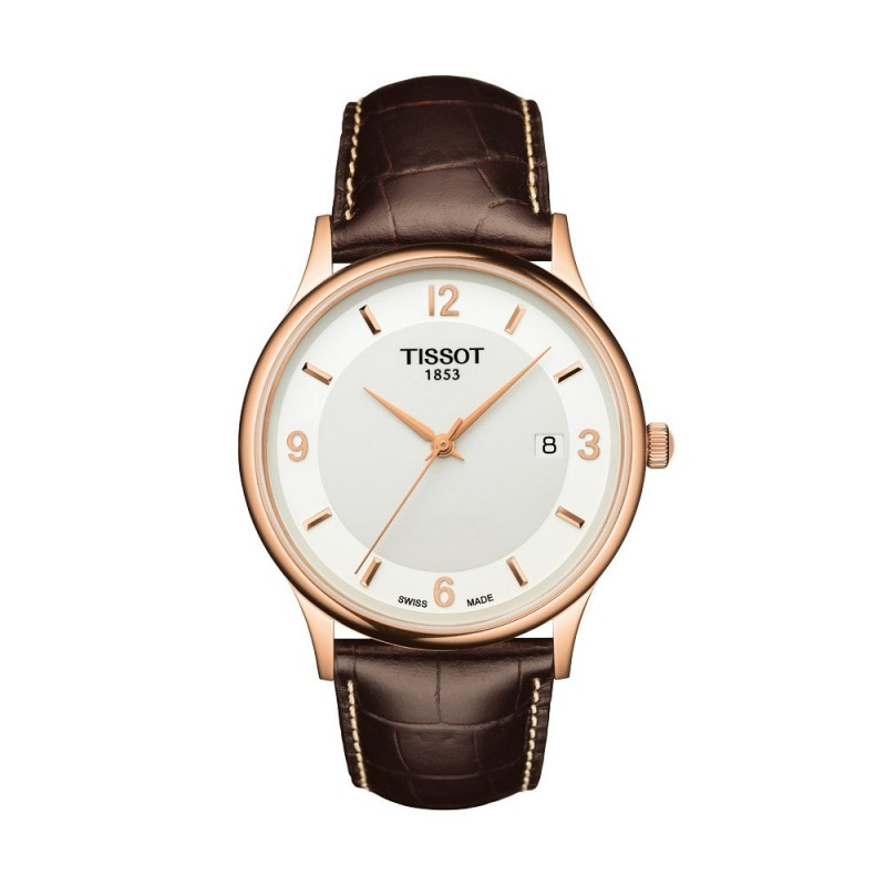 Montre Homme Tissot Rose Dream Quartz Bracelet Cuir Marron - T9144107601700