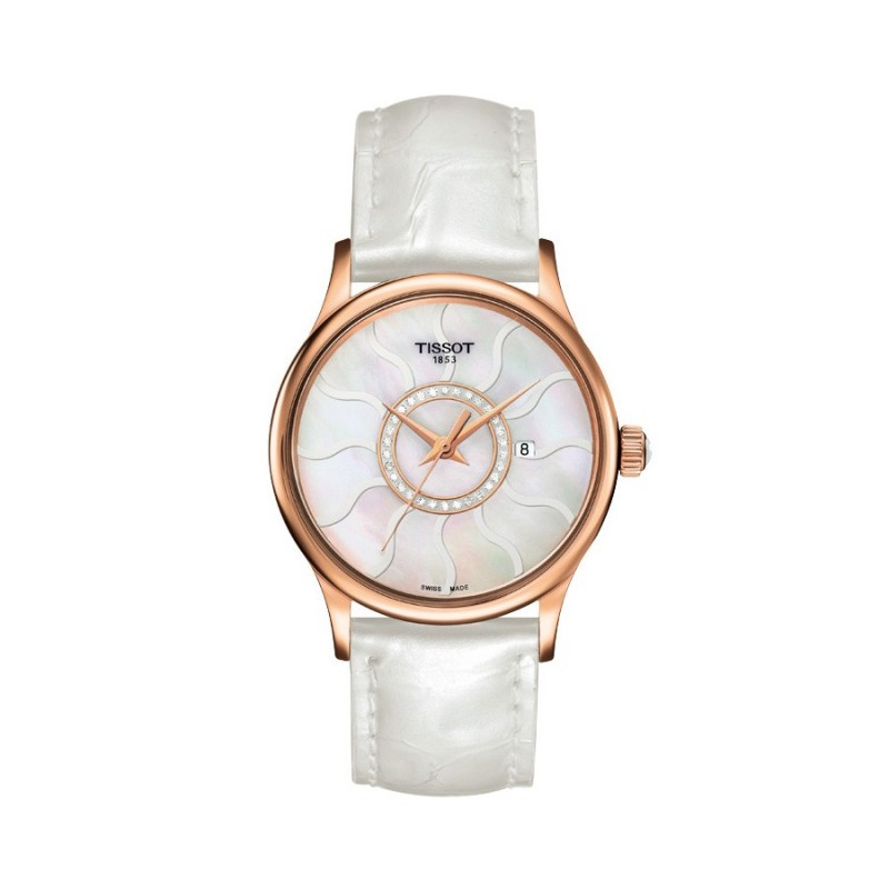 Montre Femme Tissot Rose Dream Quartz Bracelet Cuir Blanc - T9142104611600