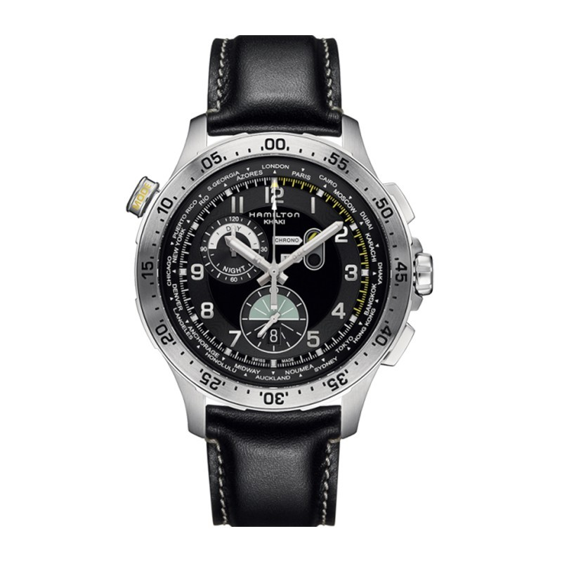 Montre Homme Hamilton Khaki Aviation Worldtimer Bracelet Cuir Noir - H76714735