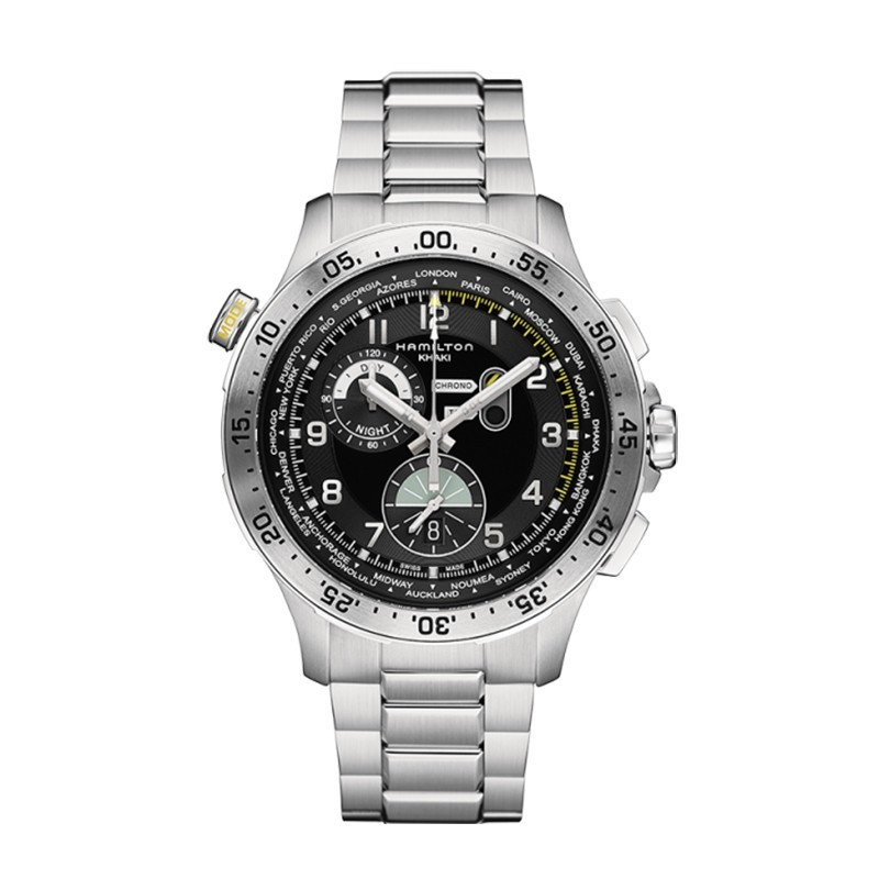 Montre Homme Hamilton Khaki Aviation Worldtimer Bracelet Acier inoxydable 316L Argenté - H76714135