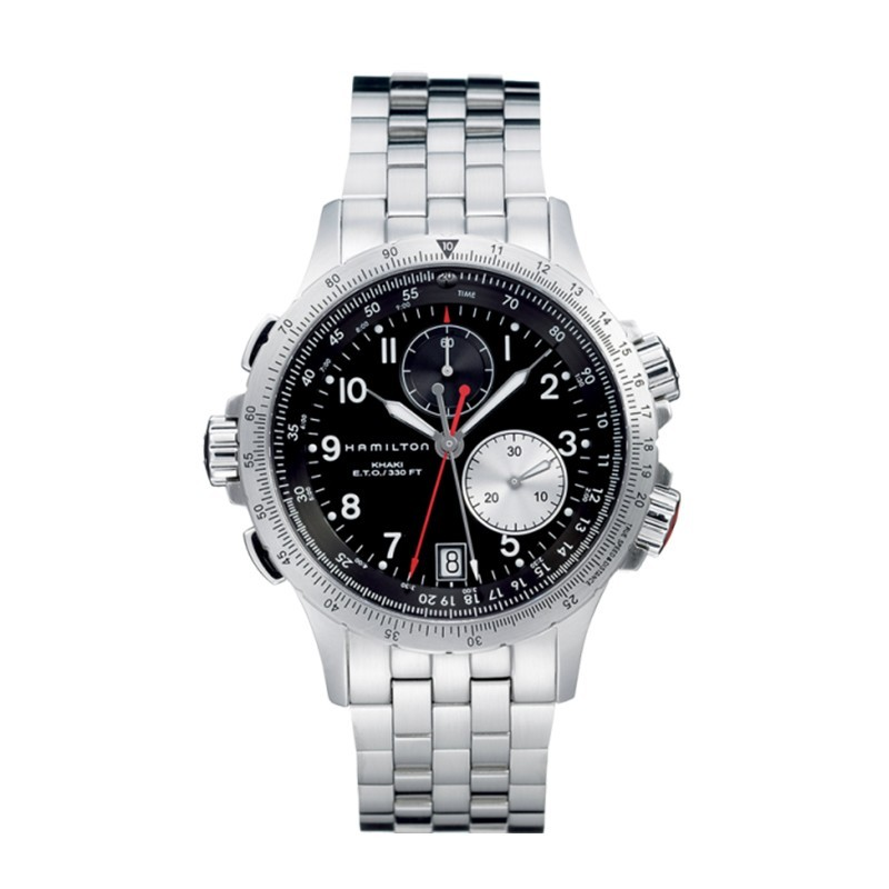 Montre Homme Hamilton Khaki Aviation Eto Chrono Quartz Bracelet Acier inoxydable 316L Argenté - H77612133