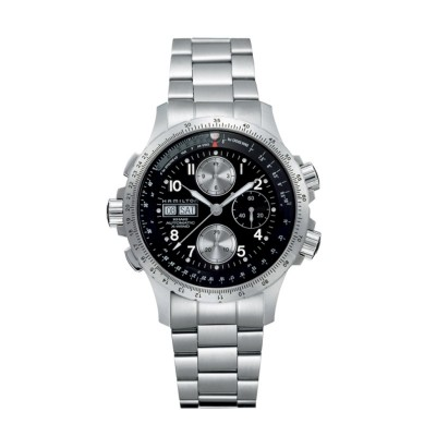 Montre Homme Hamilton Khaki Aviation X-Wind Auto Chrono Bracelet Acier inoxydable 316L Argenté - H77616133