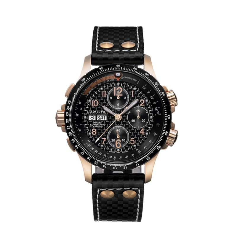 montre homme hamilton khaki aviation x wind auto chrono bracelet cuir noir h77696793. Black Bedroom Furniture Sets. Home Design Ideas