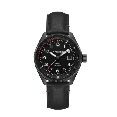 Montre Homme Hamilton Khaki Aviation Takeoff Air Zermatt Bracelet Cuir Noir - H76695733